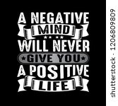 a negative mind will never give ... | Shutterstock .eps vector #1206809809