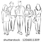 an image of a group of friends... | Shutterstock .eps vector #1206811309