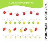 handwriting practice sheet.... | Shutterstock .eps vector #1206817276