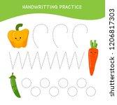 handwriting practice sheet.... | Shutterstock .eps vector #1206817303