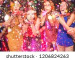 happy friends making party...   Shutterstock . vector #1206824263