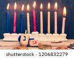 hanukkah dreidels with menorah... | Shutterstock . vector #1206832279