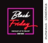 black friday neon sign isolated ... | Shutterstock . vector #1206834616