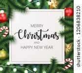 merry christmas background with ... | Shutterstock .eps vector #1206838210