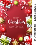 merry christmas background with ... | Shutterstock .eps vector #1206838213