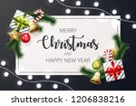 merry christmas background with ... | Shutterstock .eps vector #1206838216