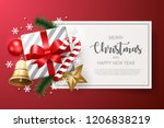 merry christmas background with ... | Shutterstock .eps vector #1206838219