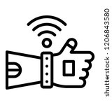 man hand with wifi signals... | Shutterstock .eps vector #1206843580