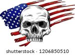 draw of skull and flag usa.... | Shutterstock .eps vector #1206850510