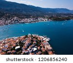 view of the harbor at poros... | Shutterstock . vector #1206856240