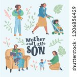 set of mother with her son in... | Shutterstock .eps vector #1206856429