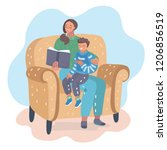 mother is sitting with her son... | Shutterstock .eps vector #1206856519