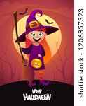 happy halloween cartoon... | Shutterstock .eps vector #1206857323