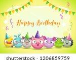 happy dirthday greetings. cute... | Shutterstock .eps vector #1206859759