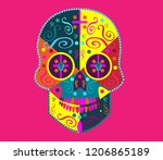 fun colorful skull icon... | Shutterstock .eps vector #1206865189
