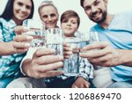 smiling family drinking water... | Shutterstock . vector #1206869470