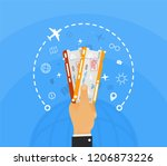 hand holding two airline... | Shutterstock .eps vector #1206873226