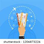 win two plane tickets on... | Shutterstock .eps vector #1206873226