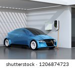 blue electric vehicle... | Shutterstock . vector #1206874723