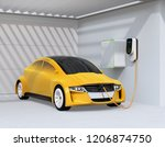 yellow electric vehicle... | Shutterstock . vector #1206874750