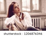 attractive young woman with... | Shutterstock . vector #1206876346