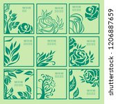 vector set of floral leafs and... | Shutterstock .eps vector #1206887659
