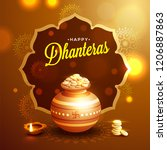 happy dhanteras template or... | Shutterstock .eps vector #1206887863