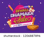 diwali dhamaka sale template or ... | Shutterstock .eps vector #1206887896