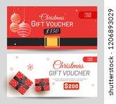 christmas gift voucher with... | Shutterstock .eps vector #1206893029