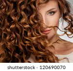 beautiful young woman with long ... | Shutterstock . vector #120690070