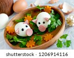 Funny Egg Pigs On Wooden Plate...