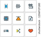 multimedia icons colored line... | Shutterstock .eps vector #1206919180