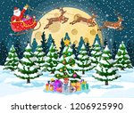 christmas background. tree gift ... | Shutterstock .eps vector #1206925990