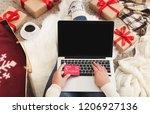 christmas online shopping.... | Shutterstock . vector #1206927136