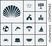 summer icons set with crab ...   Shutterstock .eps vector #1206929683