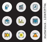 multimedia icons colored line... | Shutterstock . vector #1206929746