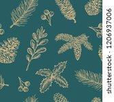 hand drawn christmas vector... | Shutterstock .eps vector #1206937006