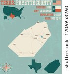 detailed map of fayette county... | Shutterstock .eps vector #1206953260