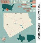 detailed map of ellis county in ... | Shutterstock .eps vector #1206954553