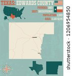 detailed map of edwards county... | Shutterstock .eps vector #1206954850