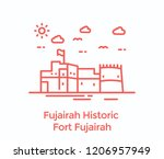 a fort in fujairah city of uae  ... | Shutterstock .eps vector #1206957949