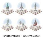 vector 3d isometric snow globes ... | Shutterstock .eps vector #1206959350