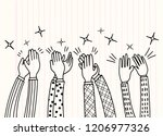 human hands clapping ovation.... | Shutterstock .eps vector #1206977326