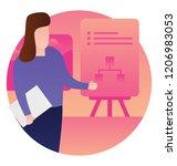 female employee presenting on... | Shutterstock .eps vector #1206983053