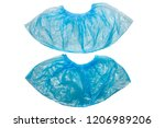 two blue medical shoe covers ... | Shutterstock . vector #1206989206