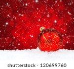 Red Christmas Ball On Snow On ...