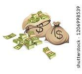 bags of money. packing in...   Shutterstock .eps vector #1206998539