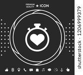 stopwatch with heart symbol  ... | Shutterstock .eps vector #1206999379