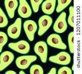 the pattern of avocado. black... | Shutterstock .eps vector #1207011100