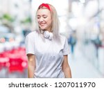 young blonde woman wearing... | Shutterstock . vector #1207011970
